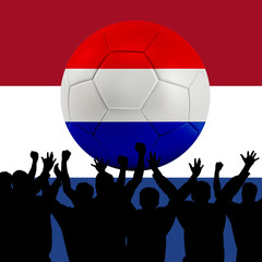 Mass cheering with Netherlands Soccer ball
