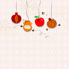 rosh hashanah concept - apple honey and pomegranate. vector