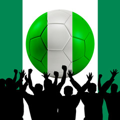 Mass cheering with Nigeria Soccer ball