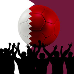 Mass cheering with Qatar Soccer ball