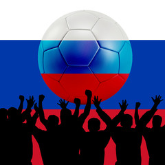Mass cheering with Russia Soccer ball