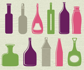 set of color bottle, vector