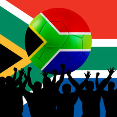 Mass cheering with South Africa Soccer ball