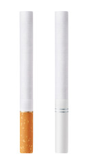 Isolated on white background cigarettes with orange and white fi
