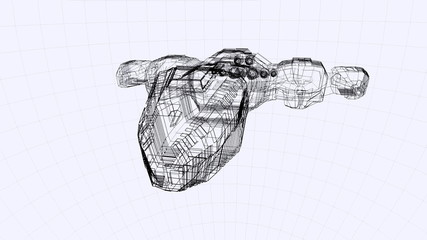 Blueprint of a futuristic spaceship