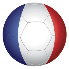 Ballon de football. Couleurs drapeau français.