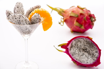 Fruit flesh of the Pitahaya blanca in a glass
