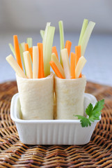 Rolled Piadina with Vegetables and Cheese