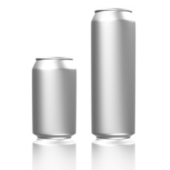 Short and long silver soda cans