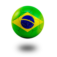 Soccer ball with Brazil flag isolated in white