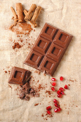 Chocolate Bar with Cinnamon and Pomegranate