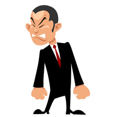 cartoon man Asian in suit with tie