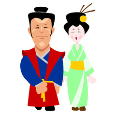 cartoon man and woman in traditional Japanese clothing