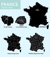 Maps of France with departments and regions and Paris