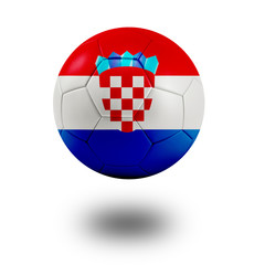 Soccer ball with Croatia flag isolated in white