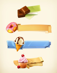 Sweet set of banners, vector illustration