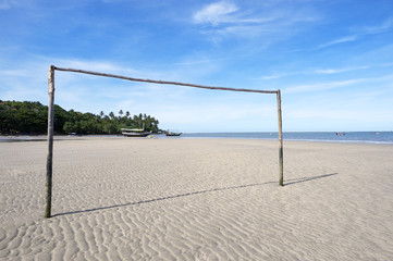 Football Goal Post Empty Brazilian Beach Football Pitch