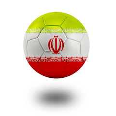 Soccer ball with Iran flag isolated in white