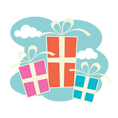 Three gift boxes in blue, pink and orange