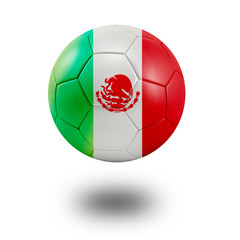 Soccer ball with Mexico flag isolated in white