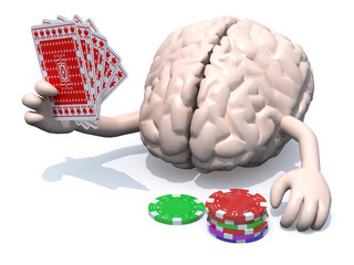 human brain with arms and legs been playing poker