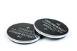 canvas print picture - Lithium button cell battery isolated on white