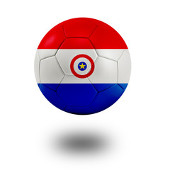 Soccer ball with Paraguay flag isolated in white