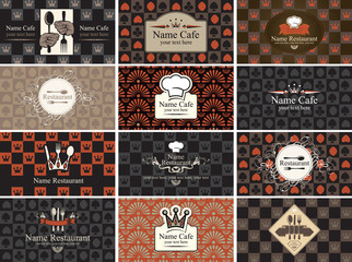 set of business cards for restaurants with card game