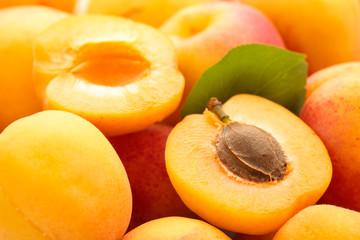 Fresh apricots background.