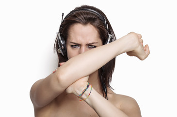 Angry girl listening to music
