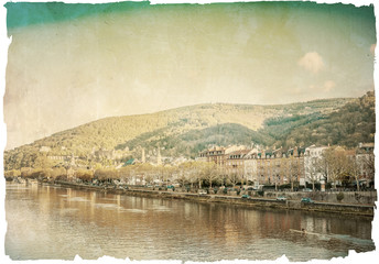 Retro old town of Heidelberg