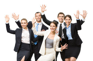 Group of happy business people with hands up, isolated