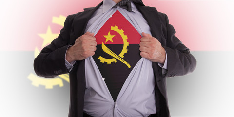Business man with Angola flag t-shirt