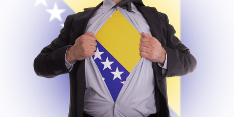 Business man with Bosnia and Herzegovina flag t-shirt