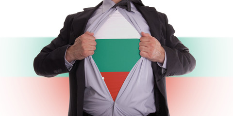 Business man with Bulgaria flag t-shirt