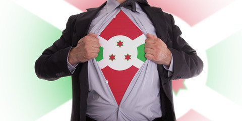 Business man with Burundi flag t-shirt