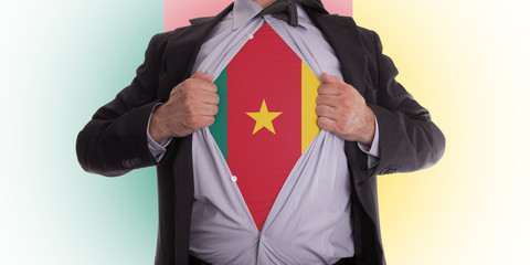 Business man with Cameroon flag t-shirt