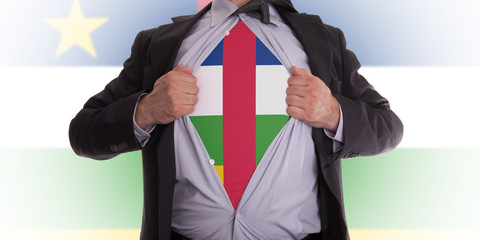 Business man with Central African Republic flag t-shirt