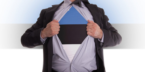 Business man with Estonia flag t-shirt