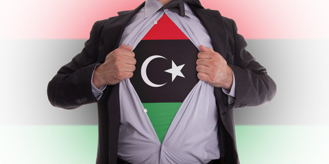 Business man with Libya flag t-shirt