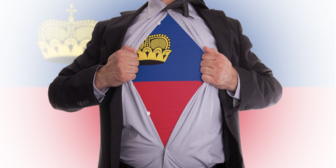 Business man with Liechtenstein flag t-shirt