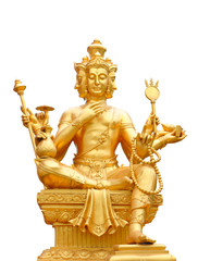 Golden statue of Brahma isolated with clipping path.