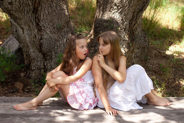 beautiful girls, sisters, girlfriends tell each other secrets