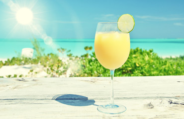 Glass of orange juice. Exuma, Bahamas