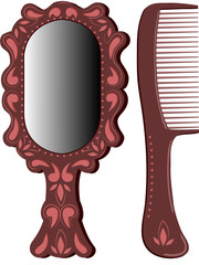 Oval mirror with hairbrush