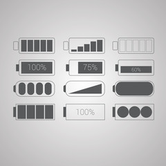 Set of flat simple web icons vector