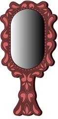 Oval brown mirror on white background