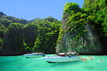 Boats and the clear sea at Phi Phi Leh island, Andaman sea Thail