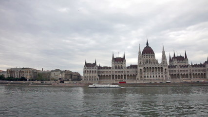View of the Parliament building in Budapest from the ship floati