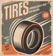 Car tires retro poster design